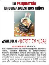 Folleto publicitario para imprimir LA PSIQUIATRIA DROGA A NUESTROS NIÑOS