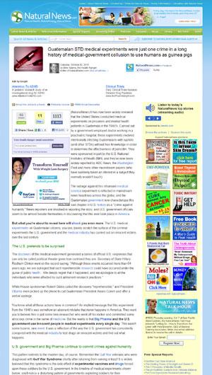 Artículo de Natural News sobre experimentos humanos del gobierno, psiquiatría y Farmaindustria