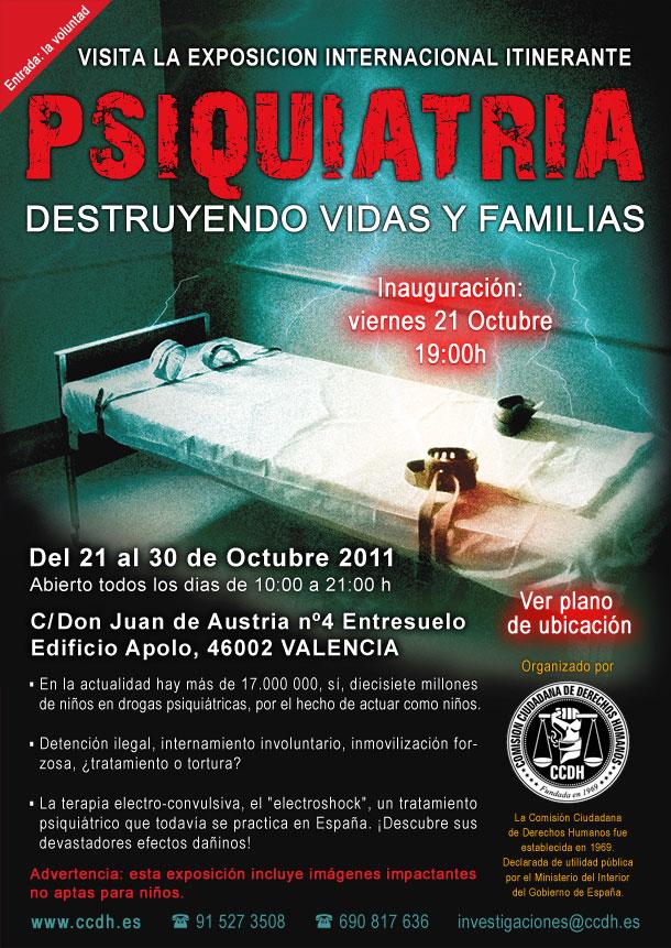 """Exposición en Valencia """"Psiquiatría: destruyendo vidas y familias"""""""