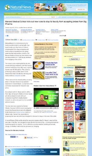 Artículo de Natural News sobre Harvard y Farmaindustria